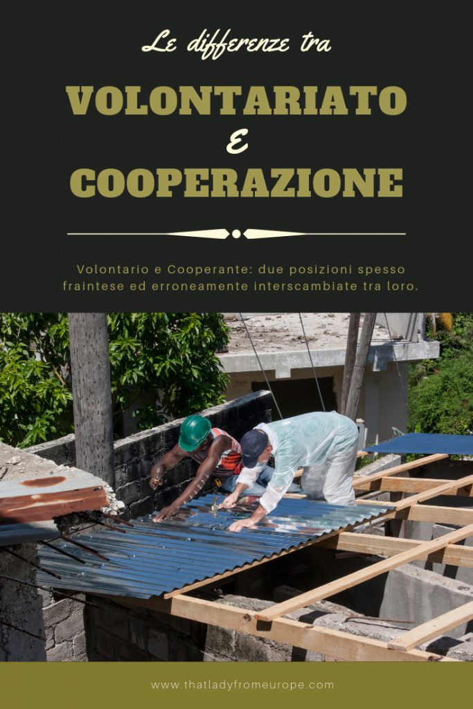 Immagine Pinterest: le differenze tra volontario e cooperante